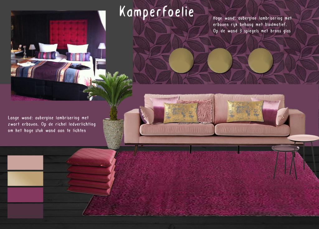 Moodboard interieurontwerp De Librije aubergine roze goud