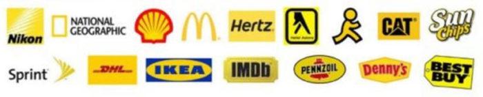 kleur in je bedrijf - gele merk logos