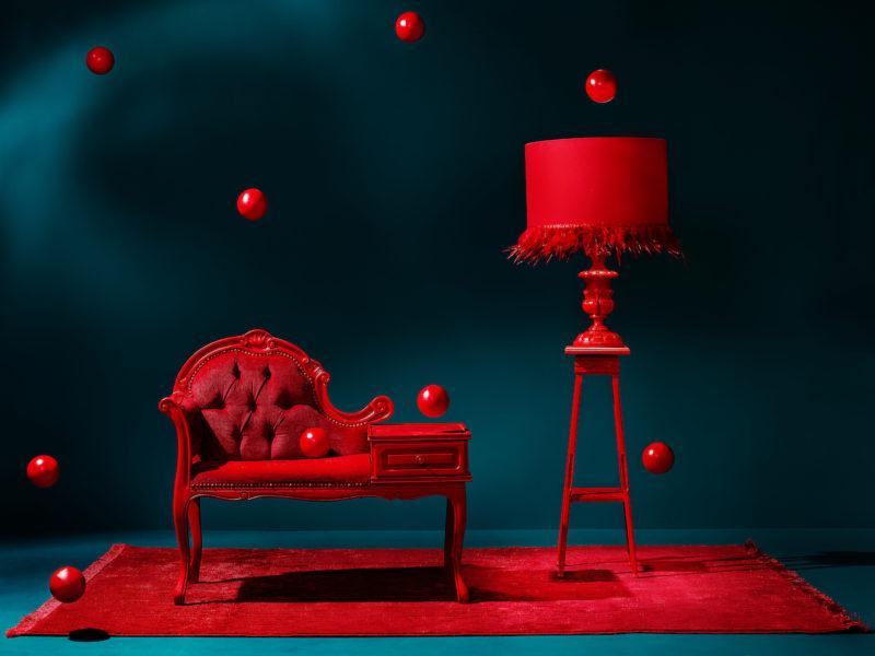 interieur rood met teal blauw