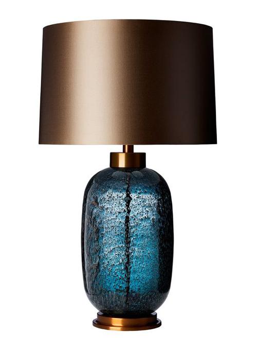 Blauwe glas lampvoet voor cosmopolitan luxury interieur
