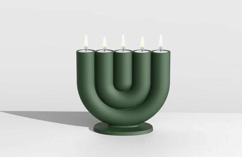 Bijzondere groene kandelaar voor cosmopolitan luxury interieur