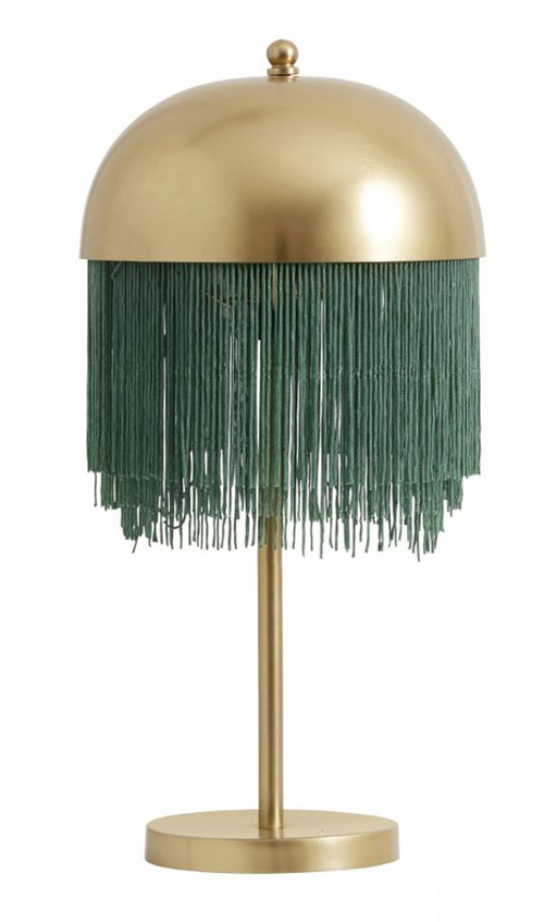 Goud metalen lamp met groene franje voor cosmopolitan luxury interieur
