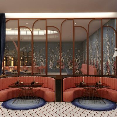 luxe interieur design restaurant zalm en blauw interieur