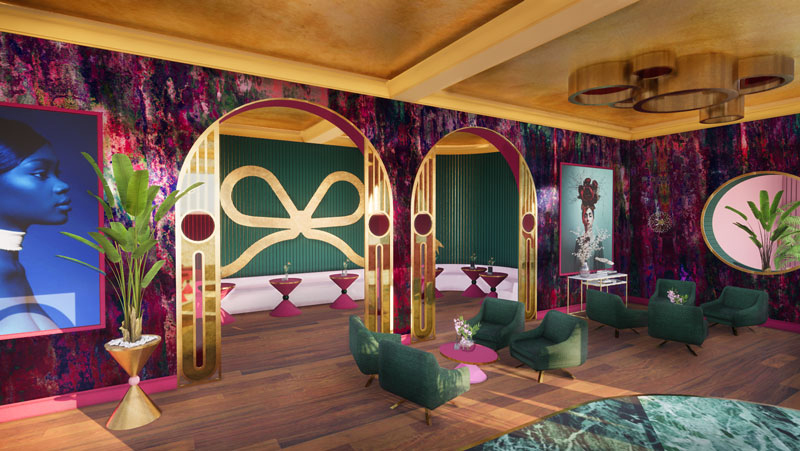 Boutique hotel lobby and hotelbar in green, gold, pink. Hotel design by Ingrid van der Veen