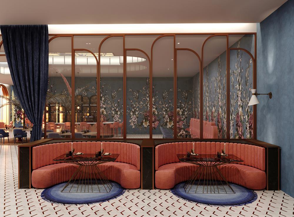 Hoe kies ik kleur voor mijn interieur roze blauw restaurant interieur