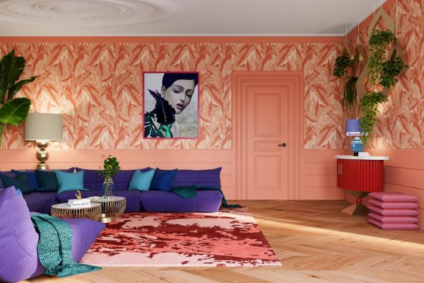 Chique inrichting woonkamer zalm behang